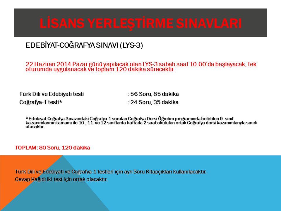 LİSANS YERLEŞTİRME SINAVLARI EDEBİYAT-COĞRAFYA SINAVI (LYS-3) 22 Haziran 2014 Pazar günü yapılacak olan LYS-3 sabah saat 10.00'da başlayacak, tek otur