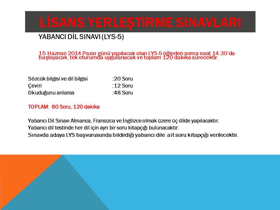 LİSANS YERLEŞTİRME SINAVLARI YABANCI DİL SINAVI (LYS-5) 15 Haziran 2014 Pazar günü yapılacak olan LYS-5 öğleden sonra saat 14.30'da başlayacak, tek ot