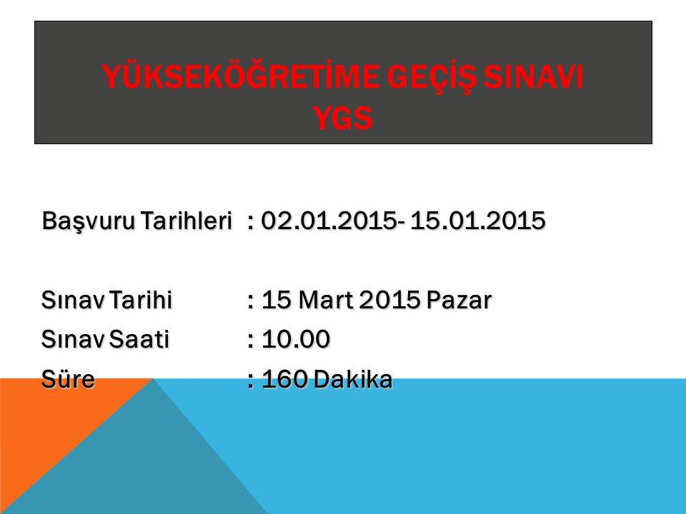 LİSANS YERLEŞTİRME SINAVI LYS Lisans Yerleştirme Sınavları (LYS) Başvuru Tarihleri : 22 - 29 Nisan 2014 LYS-4: Lisans Yerleştirme Sınavı-4 (Sosyal Bilimler) Tarihi, Saati ve Süresi : 14 Haziran 2014(Cumartesi) 10.00, 135 dakika LYS-1: Lisans Yerleştirme Sınavı-1 (Matematik) Tarihi, Saati ve Süresi : 15 Haziran 2014(Pazar) 10.00, 135 dakika LYS-5: Lisans Yerleştirme Sınavı-5 (Yabancı Dil) Tarihi, Saati ve Süresi : 15 Haziran 2014(Pazar) 14.30, 120 dakika LYS-2: Lisans Yerleştirme Sınavı-2 (Fen Bilimleri) Tarihi, Saati ve Süresi : 21 Haziran 2014 (Cumartesi) 10.00, 135 dakika LYS-3: Lisans Yerleştirme Sınavı-3 (Edebiyat-Coğrafya) Tarihi, Saati ve Süresi : 22 Haziran 2014(Pazar) 10.00, 120 dakika
