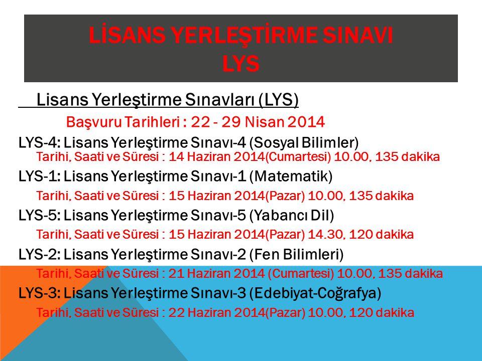 LİSANS YERLEŞTİRME SINAVI LYS Lisans Yerleştirme Sınavları (LYS) Başvuru Tarihleri : 22 - 29 Nisan 2014 LYS-4: Lisans Yerleştirme Sınavı-4 (Sosyal Bil