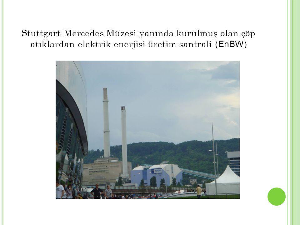 Stuttgart Mercedes Müzesi yanında kurulmuş olan çöp atıklardan elektrik enerjisi üretim santrali (EnBW)