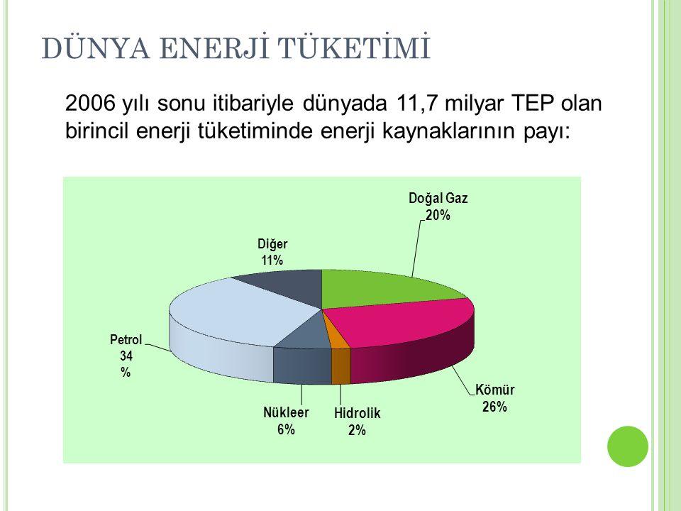 2006 yılı sonu itibariyle dünyada 11,7 milyar TEP olan birincil enerji tüketiminde enerji kaynaklarının payı: DÜNYA ENERJİ TÜKETİMİ
