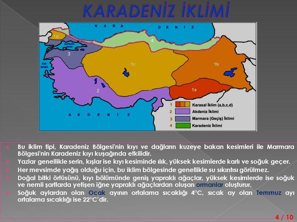  Bu iklim tipi, Karadeniz Bölgesi nin kıyı ve dağların kuzeye bakan kesimleri ile Marmara Bölgesi nin Karadeniz kıyı kuşağında etkilidir.