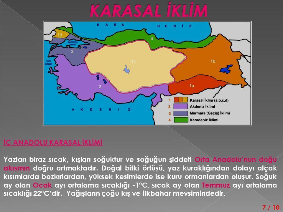 İÇ ANADOLU KARASAL İKLİMİ Yazları biraz sıcak, kışları soğuktur ve soğuğun şiddeti Orta Anadolu'nun doğu akısmın doğru artmaktadır.