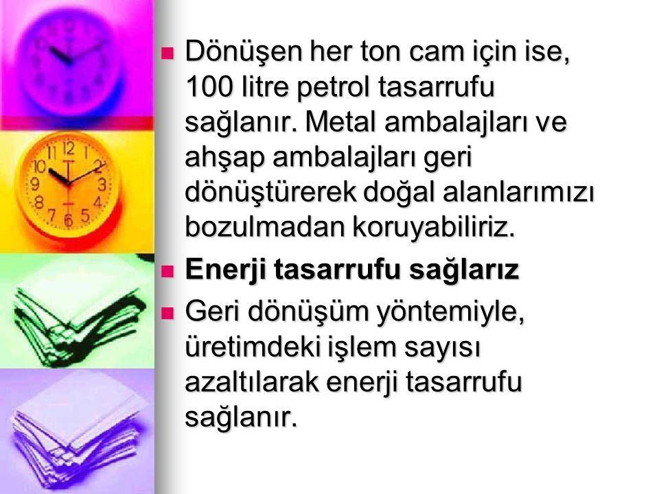 Dönüşen her ton cam için ise, 100 litre petrol tasarrufu sağlanır.