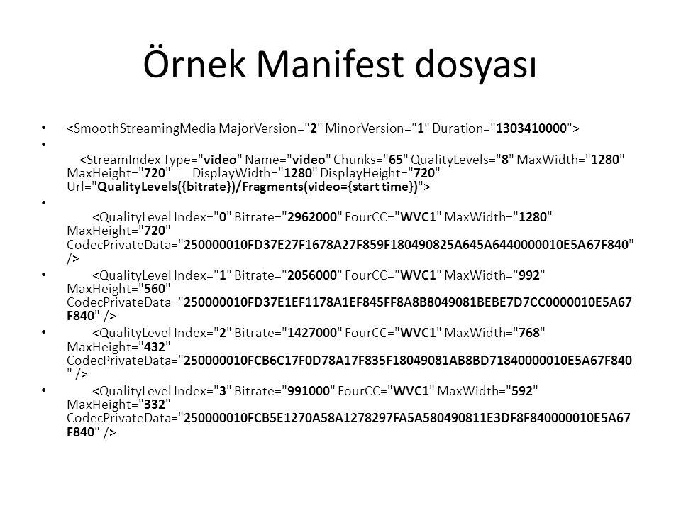 Örnek Manifest dosyası