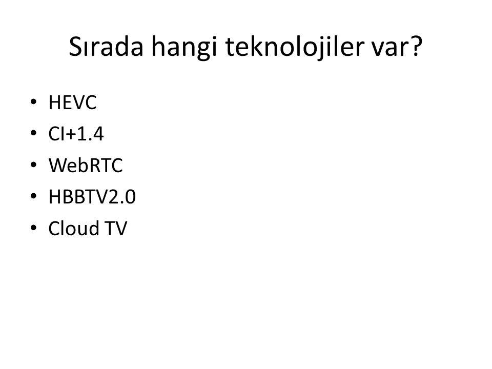 Sırada hangi teknolojiler var? HEVC CI+1.4 WebRTC HBBTV2.0 Cloud TV