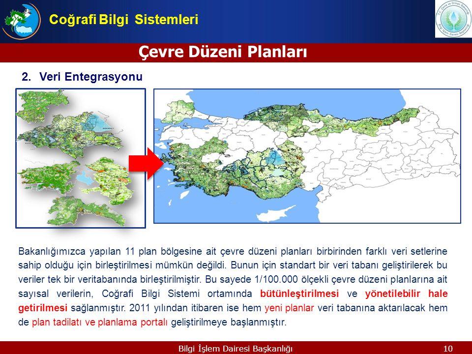 10 Bakanlığımızca yapılan 11 plan bölgesine ait çevre düzeni planları birbirinden farklı veri setlerine sahip olduğu için birleştirilmesi mümkün değil