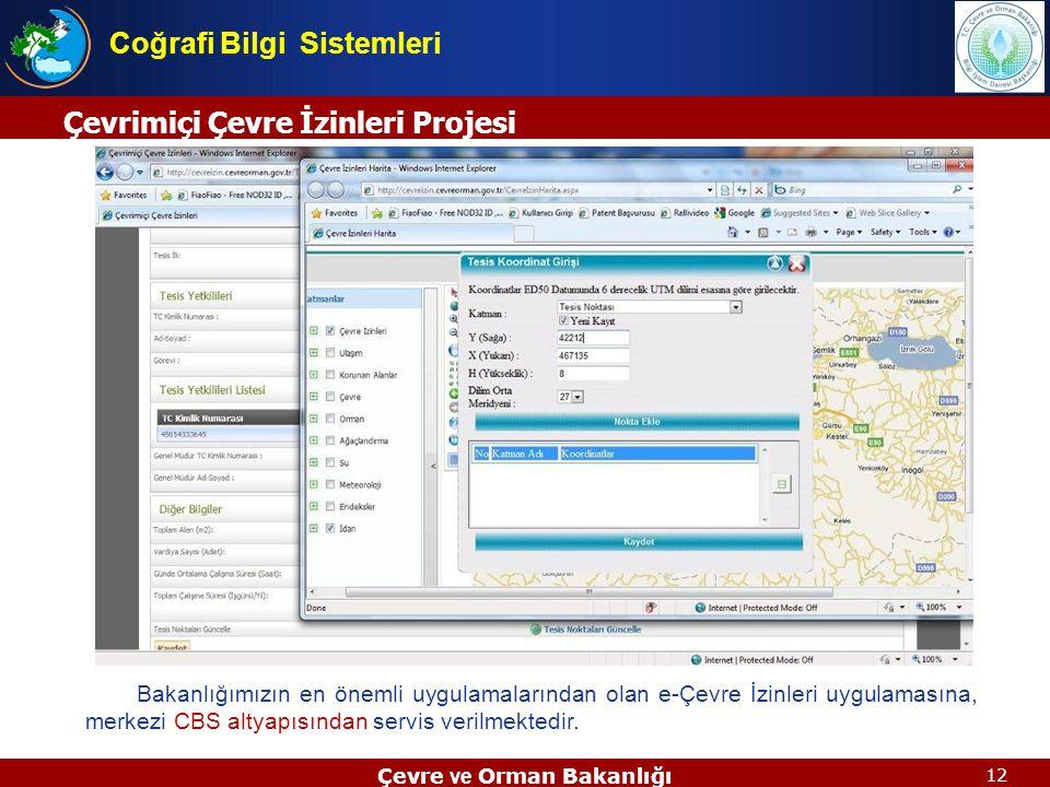 12 Çevrimiçi Çevre İzinleri Projesi Çevre ve Orman Bakanlığı Coğrafi Bilgi Sistemleri Bakanlığımızın en önemli uygulamalarından olan e-Çevre İzinleri