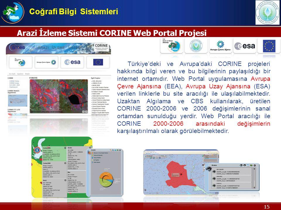 15 Arazi İzleme Sistemi CORINE Web Portal Projesi Coğrafi Bilgi Sistemleri Türkiyedeki ve Avrupadaki CORINE projeleri hakkında bilgi veren ve bu bilgi