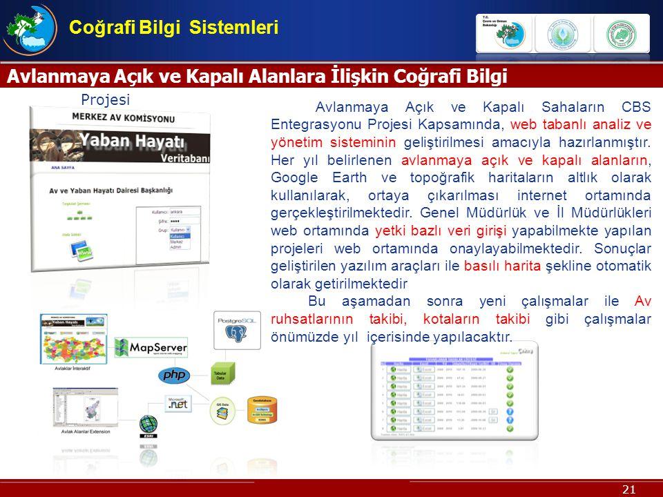 21 Avlanmaya Açık ve Kapalı Alanlara İlişkin Coğrafi Bilgi Sistemi Projesi Coğrafi Bilgi Sistemleri Avlanmaya Açık ve Kapalı Sahaların CBS Entegrasyon