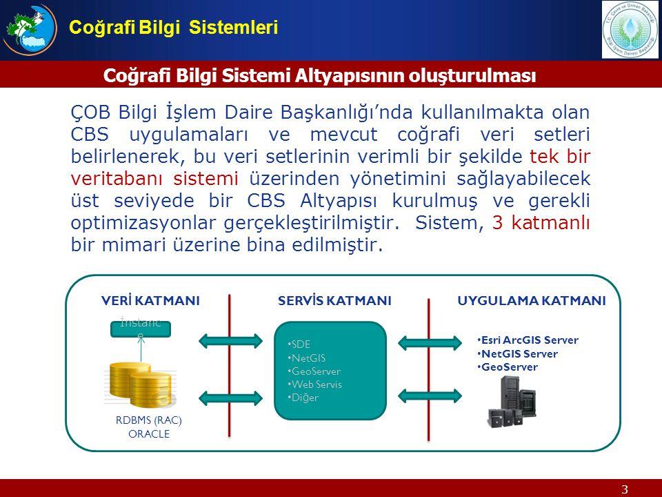 3 Coğrafi Bilgi Sistemi Altyapısının oluşturulması ÇOB Bilgi İşlem Daire Başkanlığında kullanılmakta olan CBS uygulamaları ve mevcut coğrafi veri setl