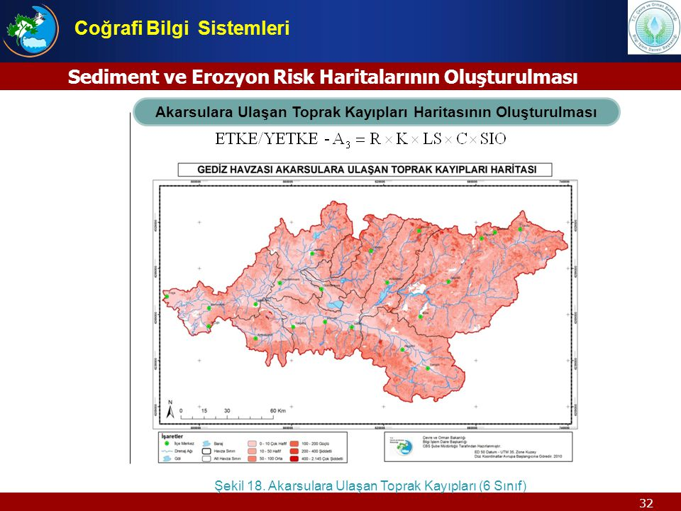 32 Akarsulara Ulaşan Toprak Kayıpları Haritasının Oluşturulması Şekil 18. Akarsulara Ulaşan Toprak Kayıpları (6 Sınıf) Sediment ve Erozyon Risk Harita