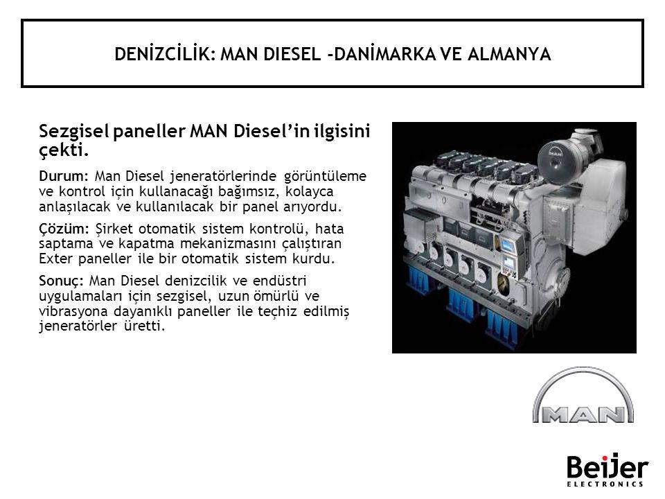 DENİZCİLİK: MAN DIESEL -DANİMARKA VE ALMANYA Sezgisel paneller MAN Dieselin ilgisini çekti. Durum: Man Diesel jeneratörlerinde görüntüleme ve kontrol