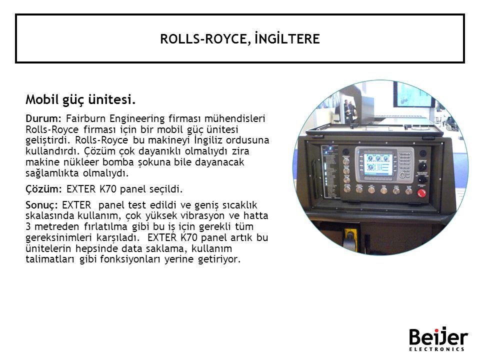 ROLLS-ROYCE, İNGİLTERE Mobil güç ünitesi. Durum: Fairburn Engineering firması mühendisleri Rolls-Royce firması için bir mobil güç ünitesi geliştirdi.