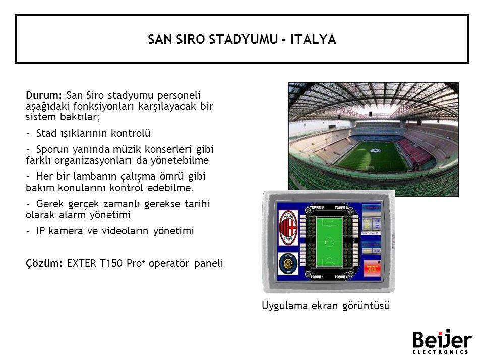 SAN SIRO STADYUMU - ITALYA Durum: San Siro stadyumu personeli aşağıdaki fonksiyonları karşılayacak bir sistem baktılar; - Stad ışıklarının kontrolü -