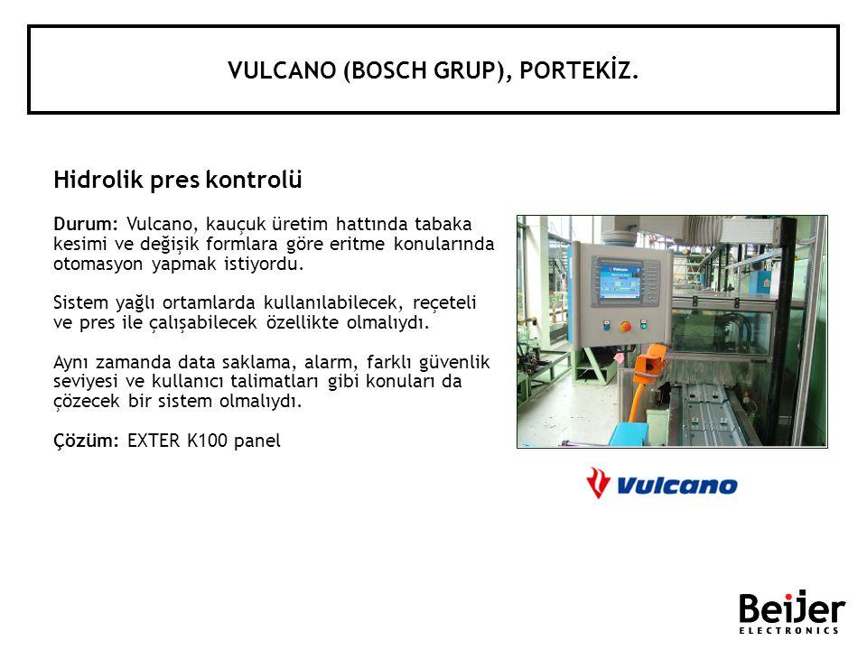 VULCANO (BOSCH GRUP), PORTEKİZ. Hidrolik pres kontrolü Durum: Vulcano, kauçuk üretim hattında tabaka kesimi ve değişik formlara göre eritme konularınd