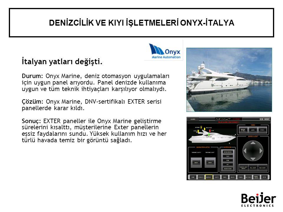 İtalyan yatları değişti. Durum: Onyx Marine, deniz otomasyon uygulamaları için uygun panel arıyordu. Panel denizde kullanıma uygun ve tüm teknik ihtiy