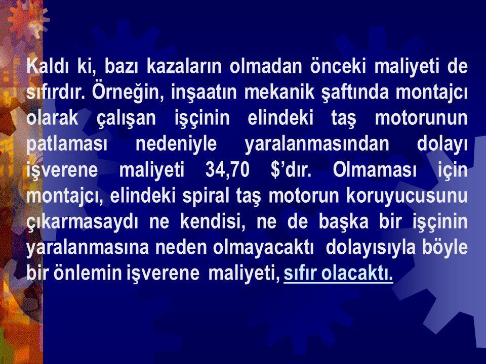 Türkiyede ; Örneğin ölümlü bir kaza nedeniyle kaybedilen 71.554 $ karşılığında; Bir inşaatta 1.430 m 3 BS 25 beton dökülebilir veya bir binanın dış cephesi 1.780 m 2 seramikle kaplanabilir ya da bir inşaata 145 Ton demir satın alınabilirdi.