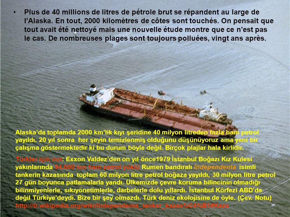 •L'Exxon Valdez est le nom d'un pétrolier américain qui s'échoua en 1989 sur la côte de l'Alaska et provoqua une importante marée noire qui eut un gra