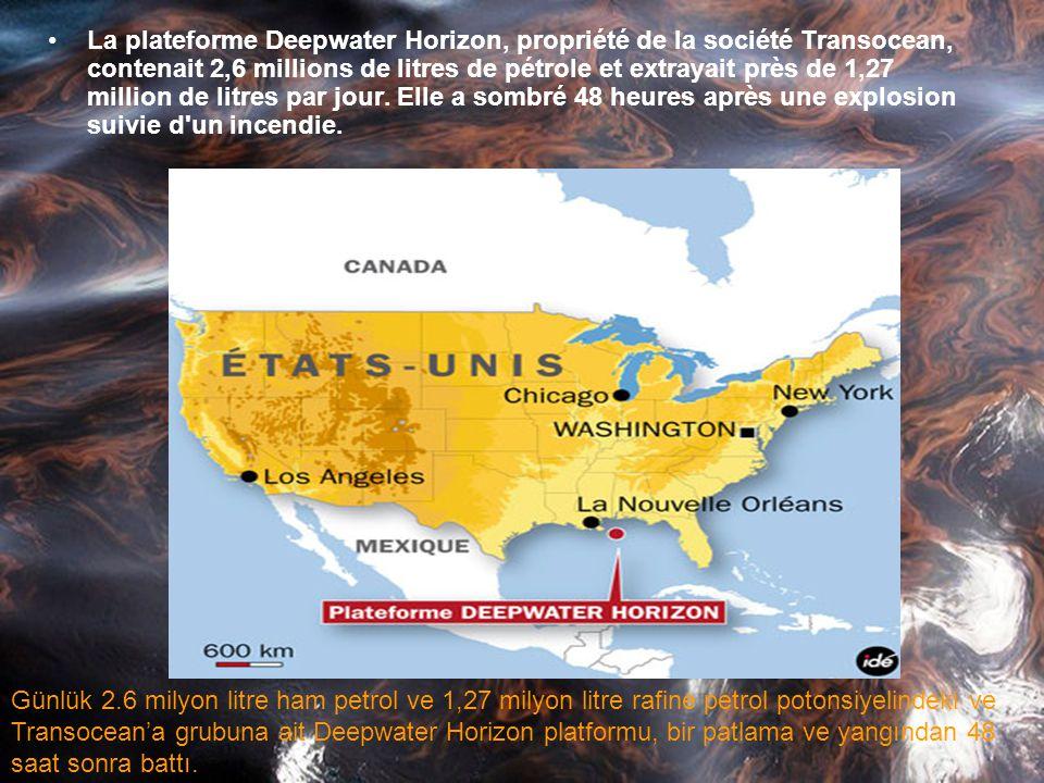 •le 20 avril 2010 explosion et le naufrage ultérieur de la Deepwater Horizon plate-forme de forage est très visible. La plate-forme était située à env