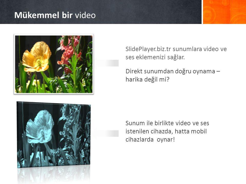 SlidePlayer.biz.tr sunumlara video ve ses eklemenizi sağlar. Direkt sunumdan doğru oynama – harika değil mi? Sunum ile birlikte video ve ses istenilen