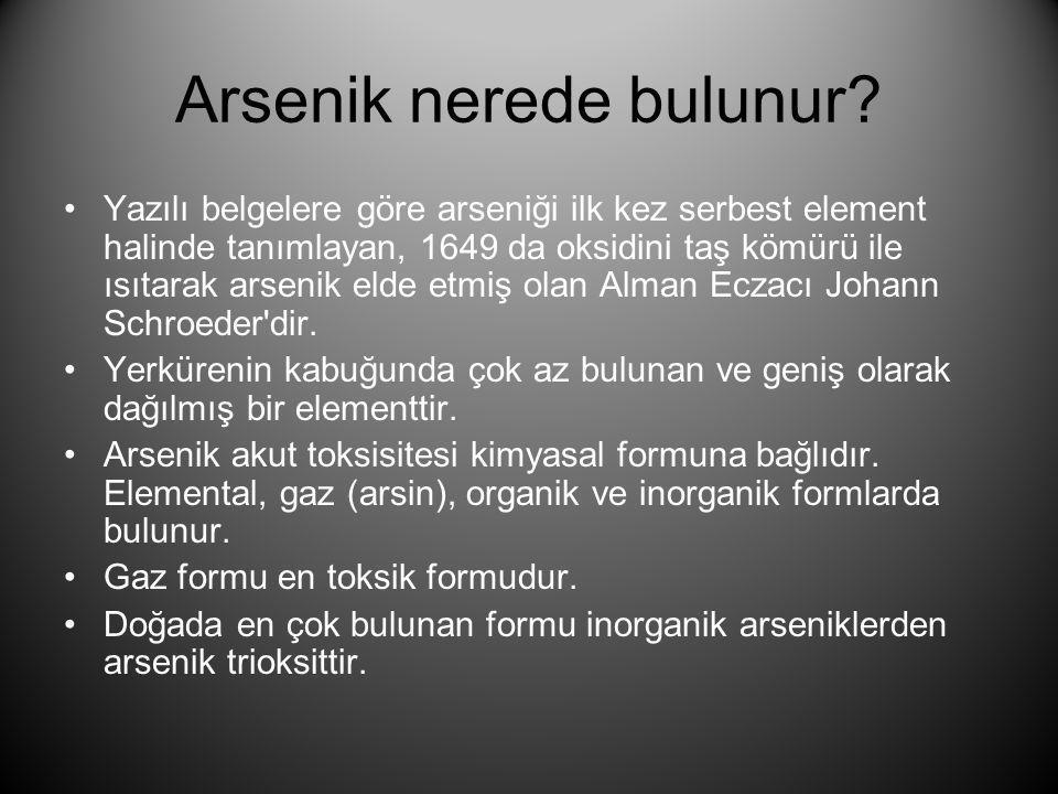 Arsenik nerede bulunur? •Yazılı belgelere göre arseniği ilk kez serbest element halinde tanımlayan, 1649 da oksidini taş kömürü ile ısıtarak arsenik e