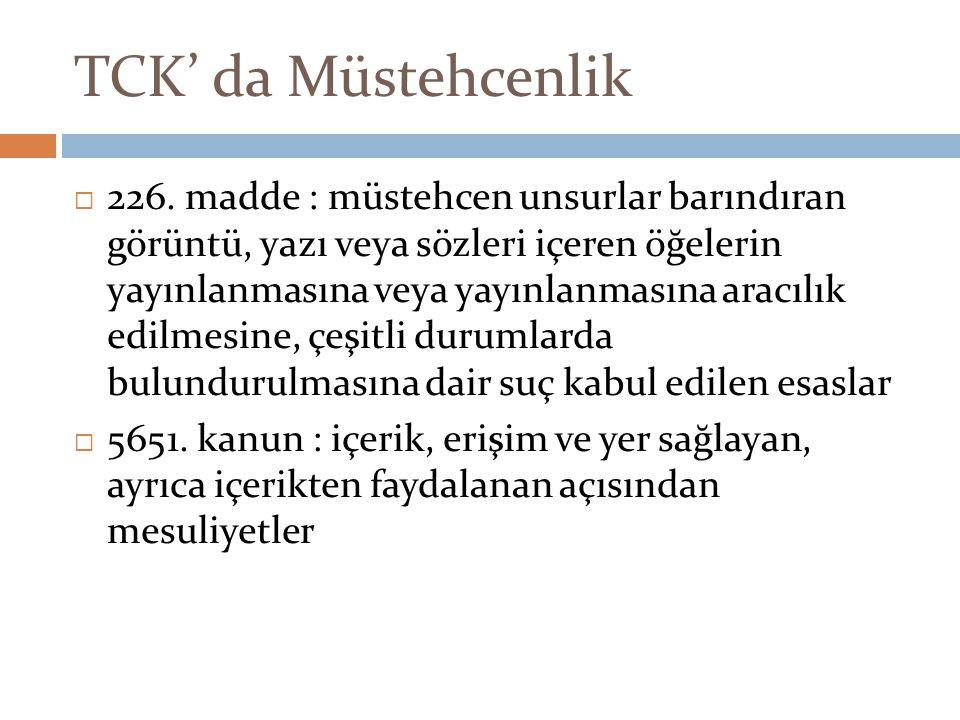 TCK' da Müstehcenlik  226. madde : müstehcen unsurlar barındıran görüntü, yazı veya sözleri içeren öğelerin yayınlanmasına veya yayınlanmasına aracıl