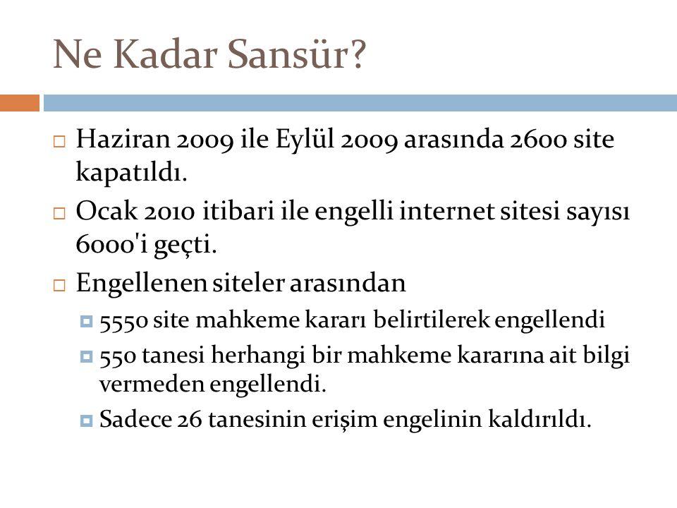 Ne Kadar Sansür?  Haziran 2009 ile Eylül 2009 arasında 2600 site kapatıldı.  Ocak 2010 itibari ile engelli internet sitesi sayısı 6000'i geçti.  En