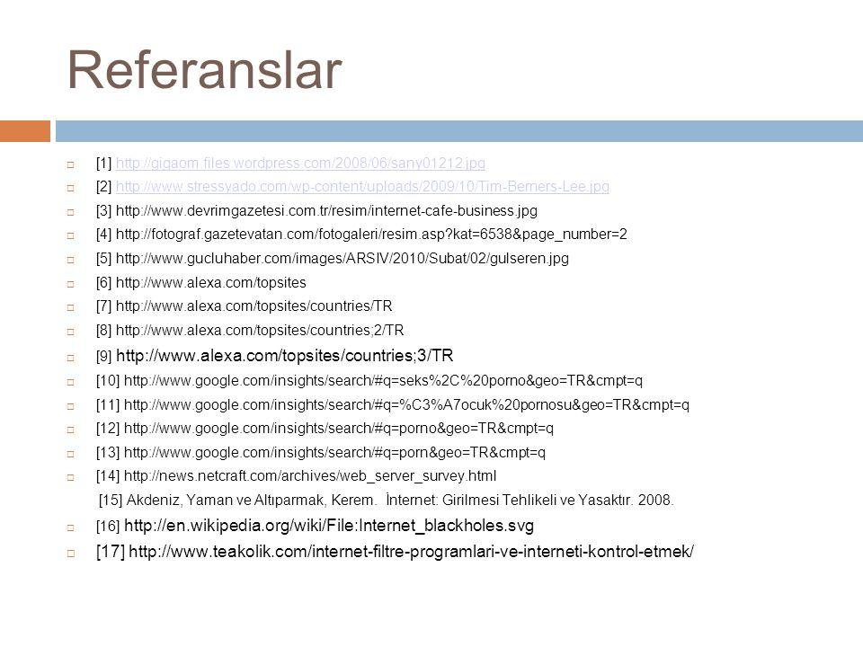 Referanslar  [1] http://gigaom.files.wordpress.com/2008/06/sany01212.jpghttp://gigaom.files.wordpress.com/2008/06/sany01212.jpg  [2] http://www.stressyado.com/wp-content/uploads/2009/10/Tim-Berners-Lee.jpghttp://www.stressyado.com/wp-content/uploads/2009/10/Tim-Berners-Lee.jpg  [3] http://www.devrimgazetesi.com.tr/resim/internet-cafe-business.jpg  [4] http://fotograf.gazetevatan.com/fotogaleri/resim.asp kat=6538&page_number=2  [5] http://www.gucluhaber.com/images/ARSIV/2010/Subat/02/gulseren.jpg  [6] http://www.alexa.com/topsites  [7] http://www.alexa.com/topsites/countries/TR  [8] http://www.alexa.com/topsites/countries;2/TR  [9] http://www.alexa.com/topsites/countries;3/TR  [10] http://www.google.com/insights/search/#q=seks%2C%20porno&geo=TR&cmpt=q  [11] http://www.google.com/insights/search/#q=%C3%A7ocuk%20pornosu&geo=TR&cmpt=q  [12] http://www.google.com/insights/search/#q=porno&geo=TR&cmpt=q  [13] http://www.google.com/insights/search/#q=porn&geo=TR&cmpt=q  [14] http://news.netcraft.com/archives/web_server_survey.html [15] Akdeniz, Yaman ve Altıparmak, Kerem.