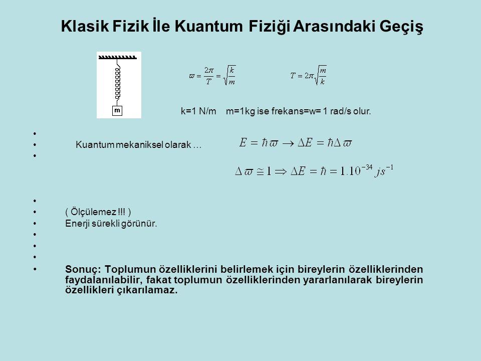 • • Kuantum mekaniksel olarak … • •( Ölçülemez !!! ) •Enerji sürekli görünür. • •Sonuç: Toplumun özelliklerini belirlemek için bireylerin özelliklerin