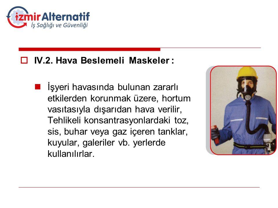  IV.2. Hava Beslemeli Maskeler :  İşyeri havasında bulunan zararlı etkilerden korunmak üzere, hortum vasıtasıyla dışarıdan hava verilir, Tehlikeli k
