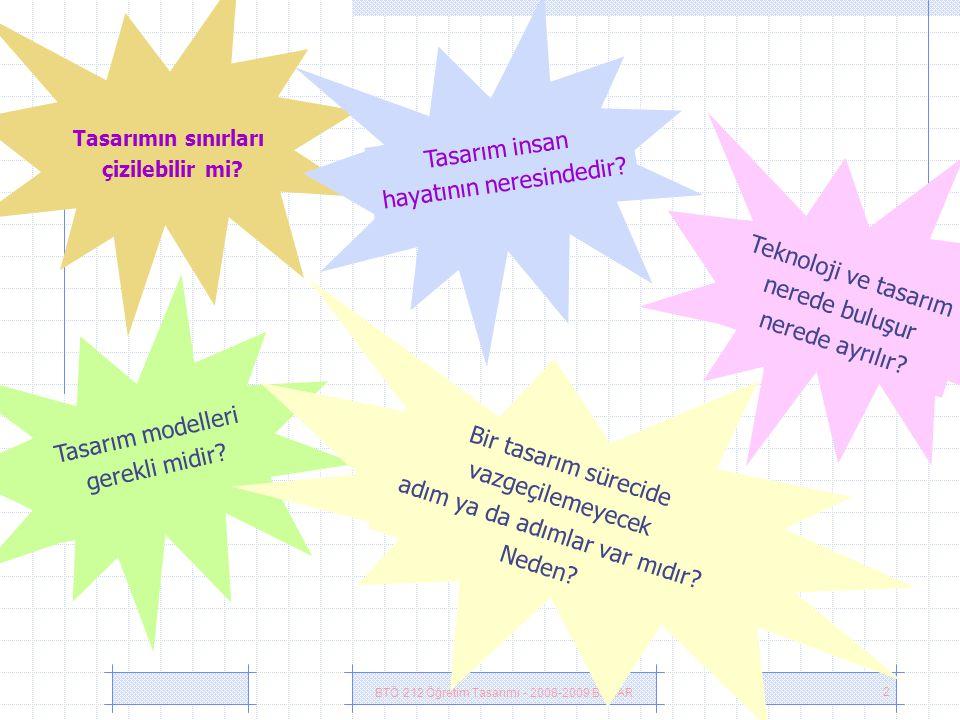 BTÖ 212 Öğretim Tasarımı - 2008-2009 BAHAR 2 Tasarımın sınırları çizilebilir mi.