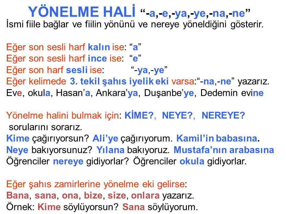 YALIN HAL İsimlerin hal eki almamış yalın halidir. Bilgisayar, ev,okul,göz,Hasan, Bekir, Ankara, Duşenbe Yalın hali bulmak için: KİM? NE? NERE?(NERESİ