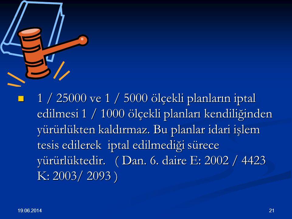 21  1 / 25000 ve 1 / 5000 ölçekli planların iptal edilmesi 1 / 1000 ölçekli planları kendiliğinden yürürlükten kaldırmaz.