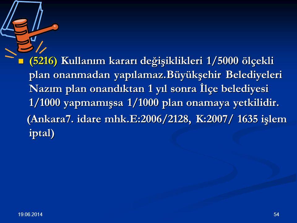54  (5216) Kullanım kararı değişiklikleri 1/5000 ölçekli plan onanmadan yapılamaz.Büyükşehir Belediyeleri Nazım plan onandıktan 1 yıl sonra İlçe belediyesi 1/1000 yapmamışsa 1/1000 plan onamaya yetkilidir.