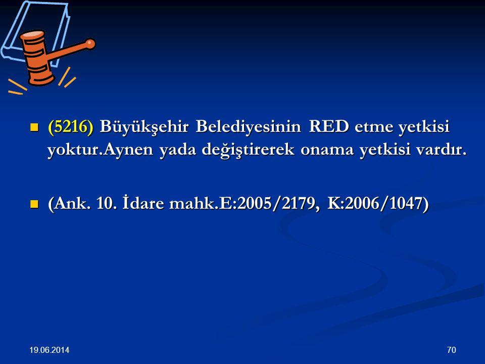 70  (5216) Büyükşehir Belediyesinin RED etme yetkisi yoktur.Aynen yada değiştirerek onama yetkisi vardır.