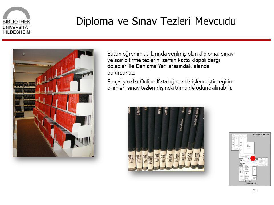 29 Diploma ve Sınav Tezleri Mevcudu Bütün öğrenim dallarında verilmiş olan diploma, sınav ve sair bitirme tezlerini zemin katta klapalı dergi dolaplar