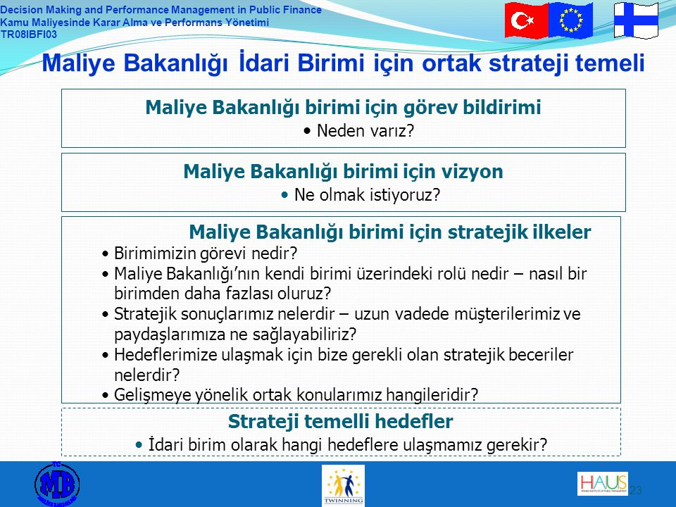 Decision Making and Performance Management in Public Finance Kamu Maliyesinde Karar Alma ve Performans Yönetimi TR08IBFI03 23 Maliye Bakanlığı İdari B