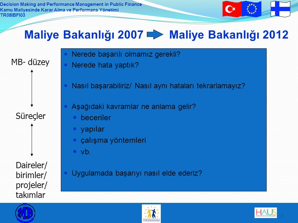 Decision Making and Performance Management in Public Finance Kamu Maliyesinde Karar Alma ve Performans Yönetimi TR08IBFI03 3 Maliye Bakanlığı 2007 Maliye Bakanlığı 2012  Nerede başarılı olmamız gerekli.
