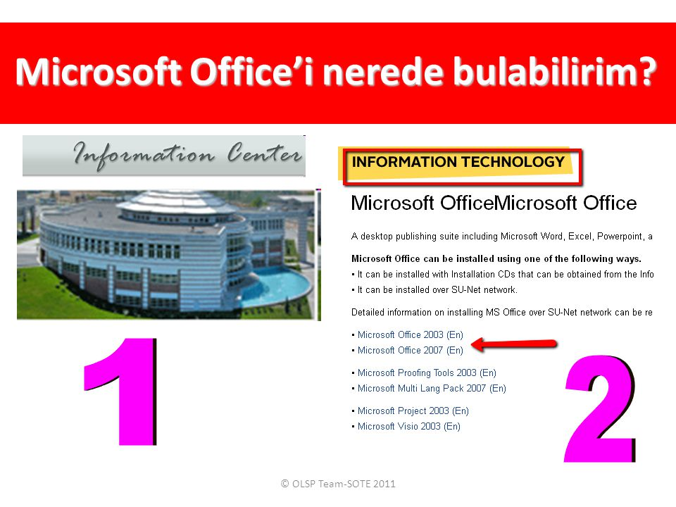 Microsoft Office'i nerede bulabilirim? © OLSP Team-SOTE 2011