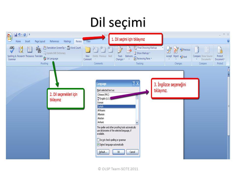 Dil seçimi © OLSP Team-SOTE 2011