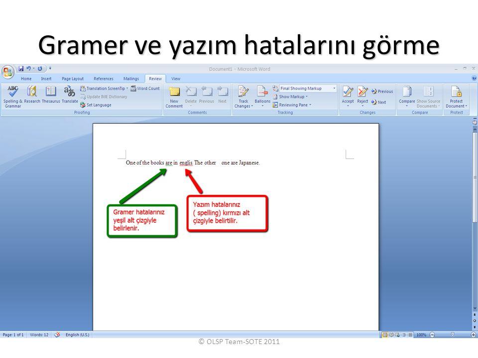 Gramer ve yazım hatalarını görme © OLSP Team-SOTE 2011