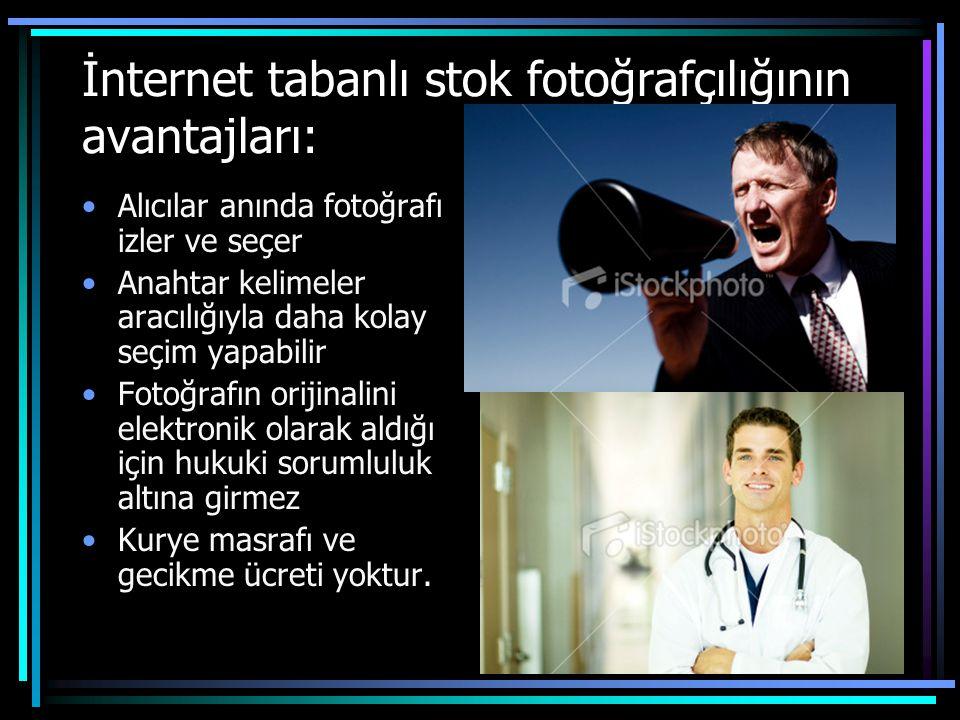 İnternet tabanlı stok fotoğrafçılığının avantajları: •Alıcılar anında fotoğrafı izler ve seçer •Anahtar kelimeler aracılığıyla daha kolay seçim yapabi
