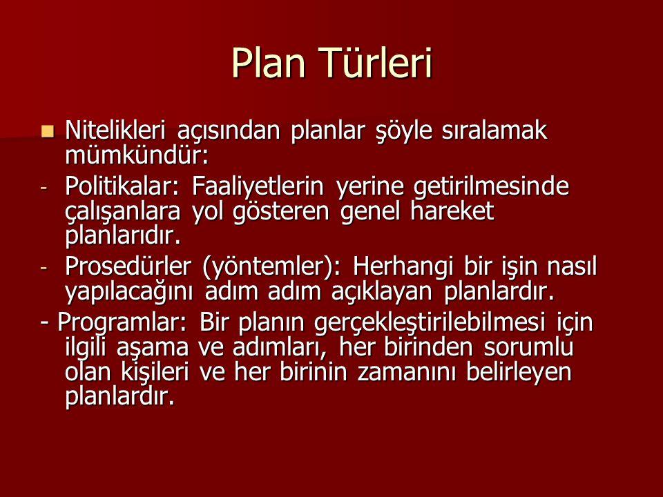 Plan Türleri  Nitelikleri açısından planlar şöyle sıralamak mümkündür: - Politikalar: Faaliyetlerin yerine getirilmesinde çalışanlara yol gösteren ge