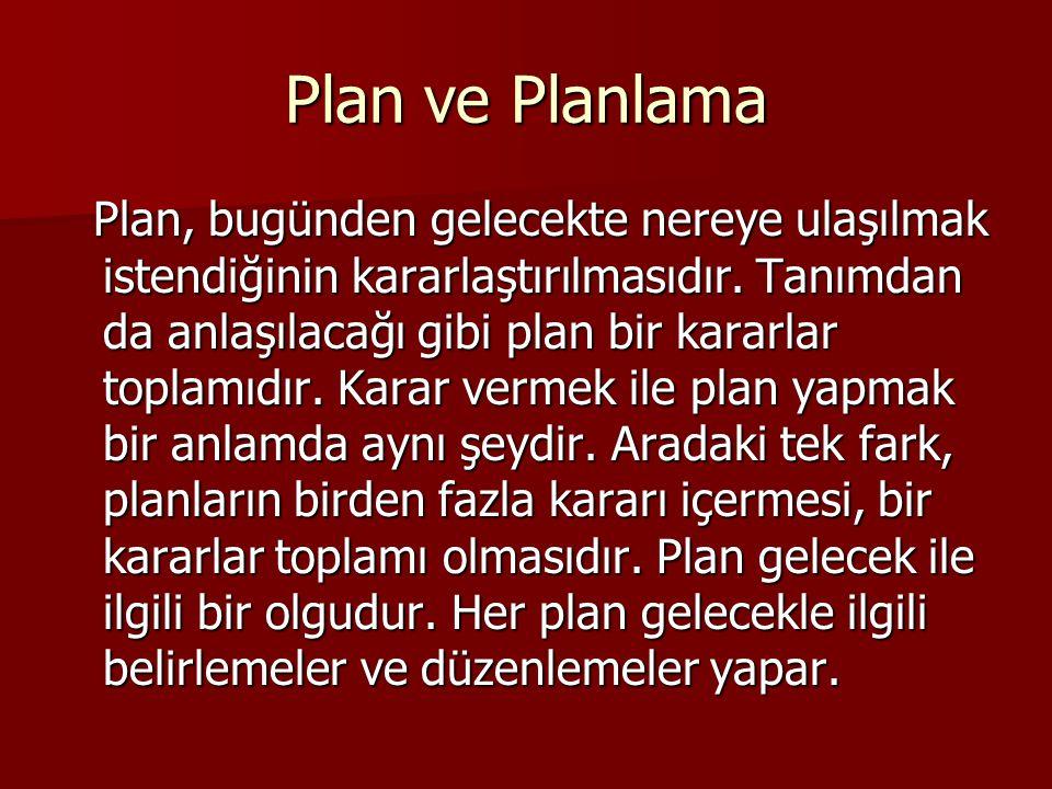 Planlama belli bir konuda aşağıdaki sorulara yanıt arama çabasıdır.