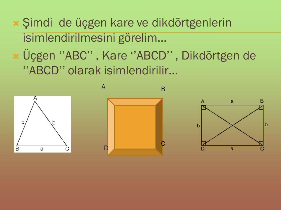  Şimdi de üçgen kare ve dikdörtgenlerin isimlendirilmesini görelim…  Üçgen ''ABC'', Kare ''ABCD'', Dikdörtgen de ''ABCD'' olarak isimlendirilir… A B