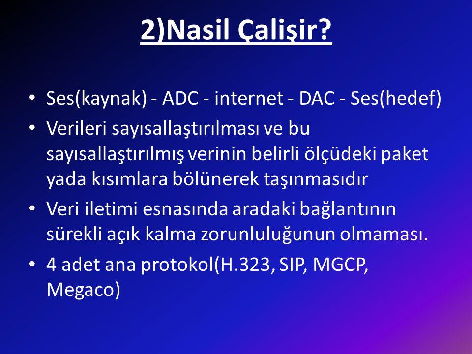 2)Nasil Çalişir? • Ses(kaynak) - ADC - internet - DAC - Ses(hedef) • Verileri sayısallaştırılması ve bu sayısallaştırılmış verinin belirli ölçüdeki pa