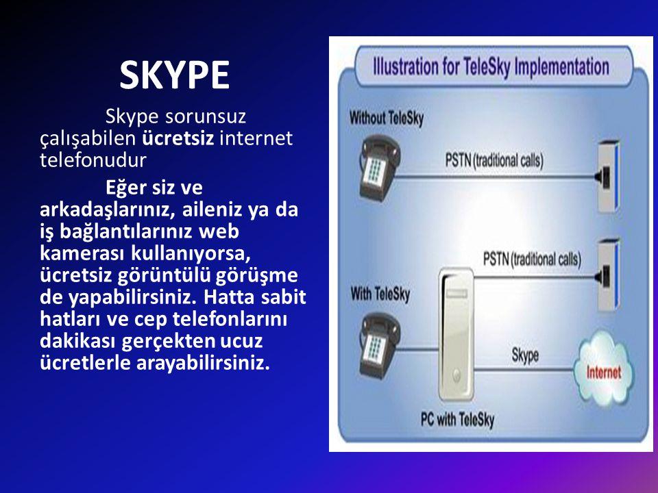 SKYPE Skype sorunsuz çalışabilen ücretsiz internet telefonudur Eğer siz ve arkadaşlarınız, aileniz ya da iş bağlantılarınız web kamerası kullanıyorsa,