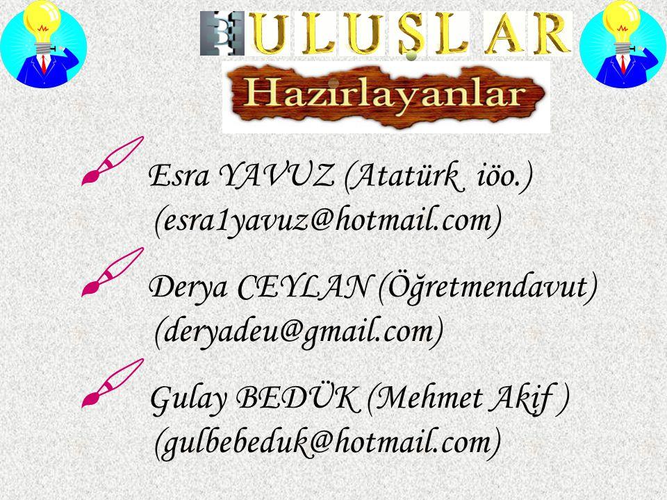  Esra YAVUZ (Atatürk iöo.) (esra1yavuz@hotmail.com)  Derya CEYLAN (Öğretmendavut) (deryadeu@gmail.com)  Gulay BEDÜK (Mehmet Akif ) (gulbebeduk@hotm
